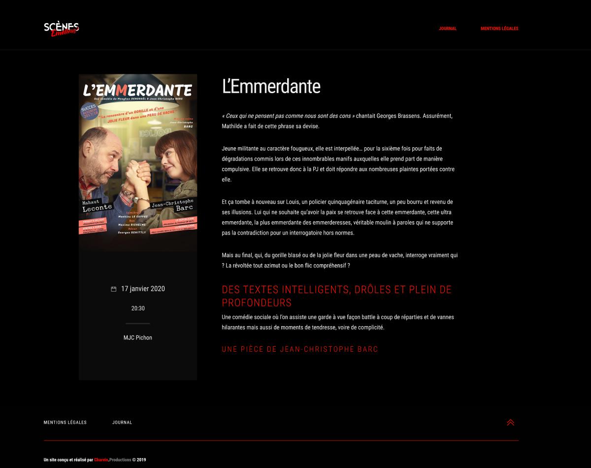 Scènes Émotions - Site Internet Version 2019 - Page Intérieure Exemple 2