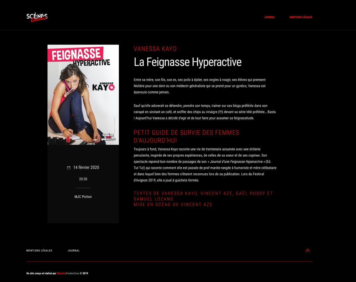 Scènes Émotions - Site Internet Version 2019 - Page Intérieure Exemple 1